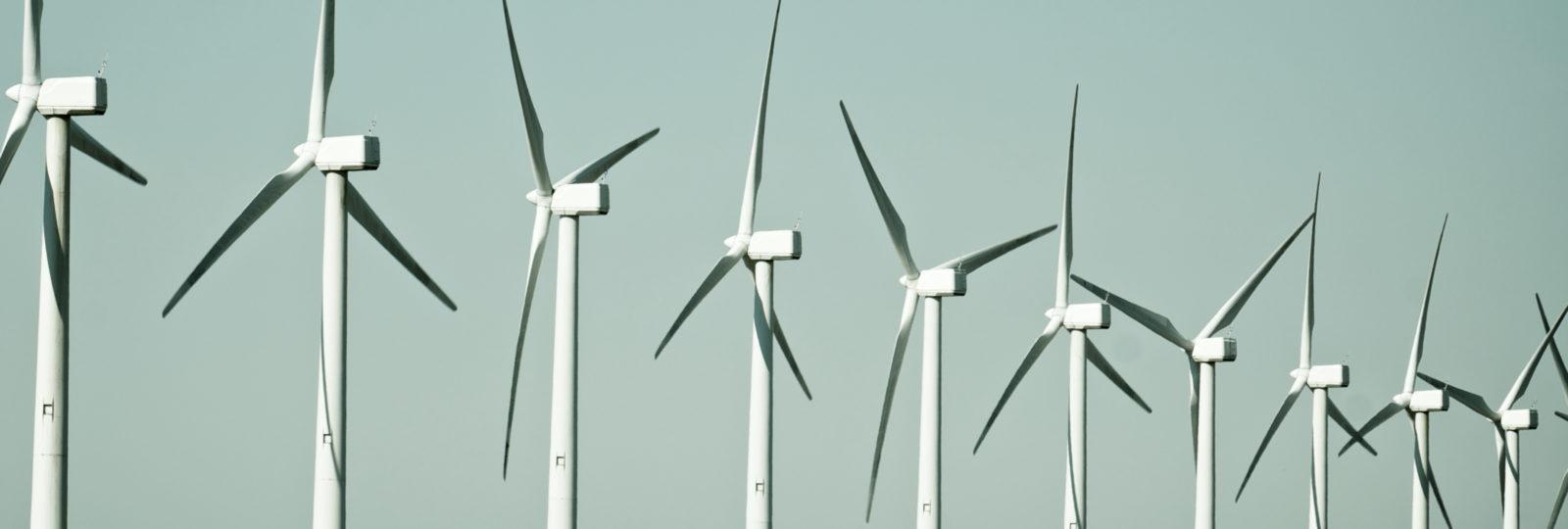 group of windmills for renewable electric energy production, Cintruenigo, Navarre, Spain